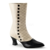 VICTORIAN-123 Cream/Black Faux Leather